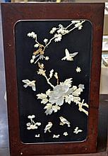Oriental Bone and Stone Inlaid Wall Panel #1
