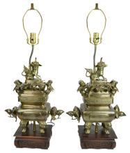 Asian Brass Censer Lamp Pair w/ Foo Dog