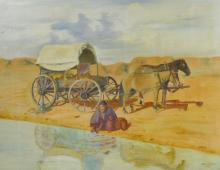 1957 Bob Dejulio Southwestern Themed Oil Painting