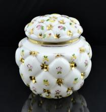 Button Tuft Floral Glass Biscuit Jar