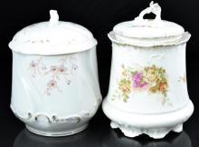 2 Pc. Floral Porcelain Biscuit Jar Lot