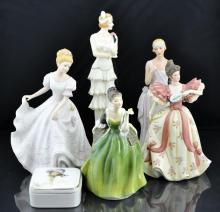 6 Pc. Figurine & Dresser Box Lot w/ Royal Doulton