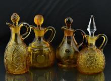 4 Pc. Amber Art Glass, Coin Spot, Etched Cruet Lot