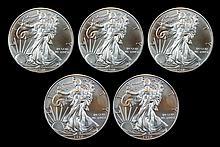 5 Uncirculated 2011 & 2012 Silver Eagle Dollar