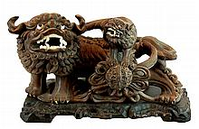 Chinese Carved Wood Foo Dog & Pup w/ Ivory