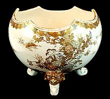 Japanese Satsuma Porcelain Footed Center Bowl