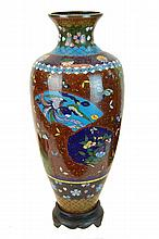 Japanese Cloisonne Butterfly/Bird Vase