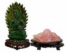 Asian Carved Jade & Rose Quartz Sculpture Lot