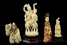 (4) Pcs Asian Carved Ivory Figures w/ Snuff Bottle