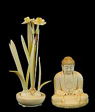PAIR Japanese Carved Ivory: Flower and Buddha