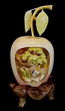 Chinese Carved Ivory Openwork Apple Sculpture