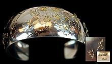 Old Japanese 950 Silver Cherry Blossom Bracelet