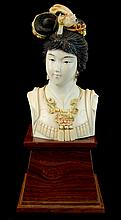 Chinese Carved Ivory Quan Yin Bust on Plinth