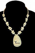Carved Ivory Elephant Pendant Necklace
