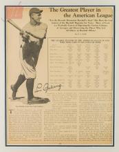 Lou Gehrig Autograph w/ Framed Photograph