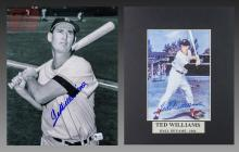 2 Pc. Ted Williams Autographed Baseball Photohgraph Lot