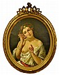 Antique Oil Painting on Canvas, Semi-Nude Woman