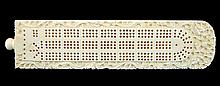 Carved Ivory Cribbage Board w/ Pegs