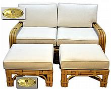 Bielecky Bros. Rattan 2-Seat Sofa and Ottoman Pair