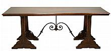 Carved Wood Trestle Table w/ Wrought Iron Accent
