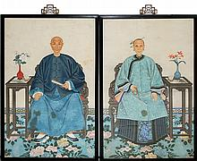 Chinese Ancestor Painting PAIR c1830, Ching Dynasty