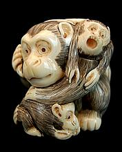 Japanese Signed Carved Ivory Monkey Trio Netsuke