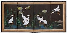Mini Asian Four Panel Painted Crane Screen