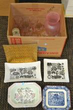 Box Lot of Mid Century George Briard Dishes Glasses and Decanter