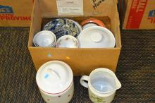 Box Lot of Royal Copenhagen Crown Bowls Dorothy Thorpe Plates and Assorted Dishes