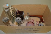 Box Lot of Signed Pottery Antique Staffords Ink Bottle and Ruby Flash Glass Pitcher