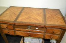 Vintage Inlaid Wood Folding and Locking Vanity with Key