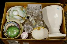 Box Lot of Porcelain and Glassware Including A.P. Chase and Nippon