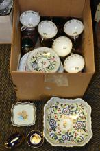 Box Lot of Fine China Including Gout De Ville and Mid Century Siamese Dancer Glass Set