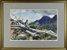 John Whorf (1903-1959) Watercolor Mountains
