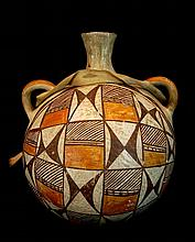 Antique Acoma Polychrome Pottery Canteen