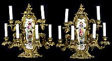 Pair of Gilt Bronze Rococo & Porcelain Sconces