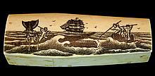 Antique Whale Bone Scrimshaw Casket & Skeleton