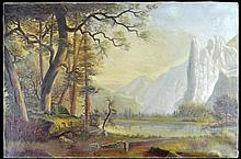 William Keith (1838 - 1911) Oil on Canvas of a Yosemite Landscape