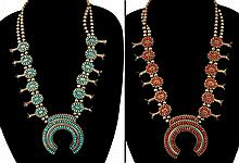 Reversible Turquoise Coral Squash Blossom Necklace