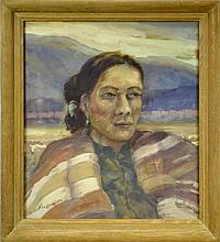 Carl Von Hassler (1887-1969) Portrait Painting of Native American Woman