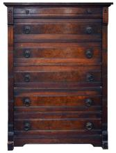 Victorian Wooden Chest of Drawers w/ Carved Floral Detail