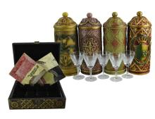 12 Pc. Wine Bottle Case, Decanter & Stemware Lot