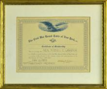 Russell Langdon Civil War Round Table of New York Membership Certificate