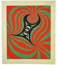 1960s Psychedelic Red, Green Lithograph Poster