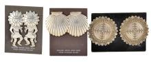 Sterling Silver 3 Pair Earrings w/ Sunface Kachina