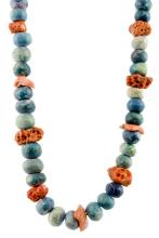 Turquoise & Coral Beaded Necklace