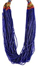 Cobalt twisted seed bead necklace with India coin