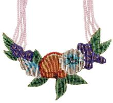 Mary B. Hetz Beaded Fruit & Floral Necklace #1