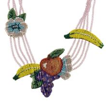 Mary B. Hetz Beaded Fruit & Floral Necklace #2