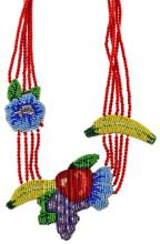 Mary B. Hetz Beaded Fruit & Floral Necklace #3